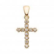 Elegant 14k Yellow Gold Diamond Cross Dainty Charm Pendant