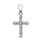 Elegant 14k White Gold Diamond Cross Dainty Charm Pendant