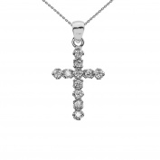 Elegant 14k White Gold Diamond Cross Dainty Charm Pendant Necklace
