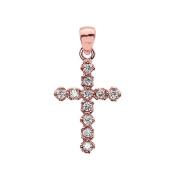 Elegant 14k Rose Gold Diamond Cross Dainty Charm Pendant