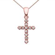 Elegant 14k Rose Gold Diamond Cross Dainty Charm Pendant Necklace