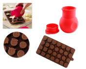 DSstyles Smiley Chocolate Moulds Silicone Chocolate Candy Jelly Baking Mould Silicone Bakeware Mould Set with Free Chocolate Melting Pot Random Colour