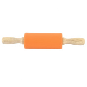sourcingmap® Silicone Roller Wooden Handle Home Kitchen Non-stick Rolling Pin Dumpling Making Tool Orange