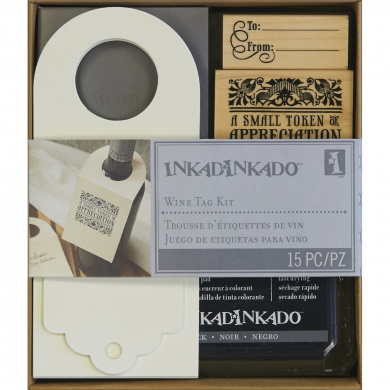 Inkadinkado Rubber Stamping Kit 15cm x 18cm , Wine Bottle Tag