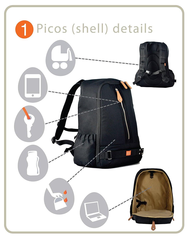 a3a210326b6c PacaPod Picos Pack Black Shell - Designer Baby Changing Bag - Unisex ...