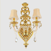 New Continental Double head Fashion Crystal Wall Lamp Living Room The Lobby Bedroom Study Restaurant Zinc Alloy Golden Engineering Decoration Lamps