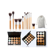 JasCherry Pro 11 Pcs Oval Make Up Brushes + 15 Colours Cream Concealer Camouflage Makeup Palette Contouring Kit for Salon and Daily Use