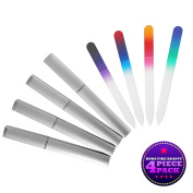 Bona Fide Beauty Crystal Nail Files - 4 Tricolour Czech Glass Nail Files with Cases - Best Glass Nail Files for Nail Care - Great Fingernail Files for Fingernail Strengthener - File Nails Effortlessly