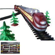 Electric Railways Starter Train Set with Light and Sound Effects, Locomotive with Carriages, Long Railway Line and Many Accessories, Complete Set