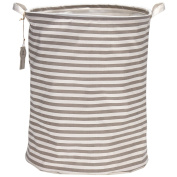 Sea Team 19.7 Large Sized Waterproof Coating Ramie Cotton Fabric Folding Laundry Hamper Bucket Cylindric Burlap Canvas Storage Basket with . Grey & White Stripe Design by Sea Team