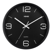HENSE Modern Stylish Elegant Silent Non-ticking Home Kitchen/Living Room Wall Clock 12 InchesHW56