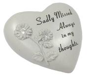 David Fischhoff Sadly Missed Diamante Heart Book Memorial Item, Stone, Cream
