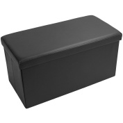Large Ottoman Folding Storage Box Blanket Toy Foot Rest With Removable Lid Pouffe 76 x 38 x 38cm Durable Faux PVC Leather Finish Black