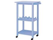 Lifestyle Design 636172 Alabama Kitchen Trolley 86 x 40 x 55 cm Rubber Wood, Bemahlt MDF Solid Wood Legs, Light Blue