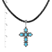 American West Genuine .925 Sterling Silver Sleeping Beauty Turquoise Cross Black Leather Pendant Necklace