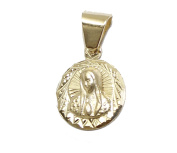 Virgen De Guadalupe Round Medal Medalla 14k Gold Plated with 50cm Chain