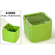 DonRegaloWeb - ceramic salt Square with Acrylic Lid Decorated in Green.