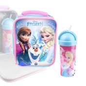 KIDS LUNCH BOX BAG TRITAN DRINKS BOTTLE DISNEY FROZEN ELSA OFFICIAL licenced
