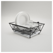 Luxury Powder Coated Galvanised Stainless Steel Dish Drainer Hang able With Removable Tray - Black