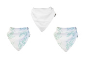 3 Pack of Muslinz Premium BAMBOO ORGANIC BIBS Very High Quality - TEAL LEAF & PLAIN WHITE DESIGN
