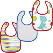 Red & Blue Dinosaur Stripes Colourful Cotton Baby Bibs