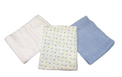 3 Pack of Muslinz Premium Muslin Squares 100% Cotton Supersoft Very High Quality - BLUE/WHITE & GREEN SPOTS