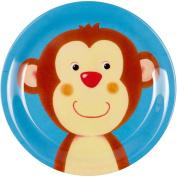 """Plate Melamin blue """"Freche Rasselbande"""" monkey"""