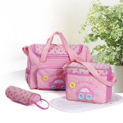 4pcs Cute as a button embroidery baby nappy changing bags Mummy Tote Handbag
