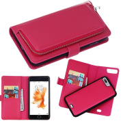 iPhone7Plus Case, DRUnKQUEEn Premium Slim Wallet Zipper Clutch Leather Credit Card Holder Feature Purse Case - Detachable Magnetic Back Cover for iPhone 7Plus