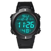 HARRYSTORE Men's Sport Watch Multifunctional Military Waterproof Simple Design Big Numbers Digital LCD Screen Casual Watch with Stopwatch Date Black Rubber Wrist Watch