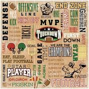 Football Paper 30cm x 30cm -Touchdown Collage 25 per pack