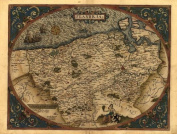 Reproduction Antique Map of Flandria (Flanders is the region overlapping parts of modern France, Belgium and Netherlands), by Abraham Ortelius A1 Size 78 x 57 cm