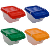 30 Litre Recycling Bin with Hinged Lid - Set of 4 Red/blue/Green/Yellow