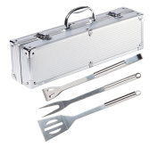 BrilliantDay 3 Pcs Stainless Steel BBQ with Aluminium Storage Case - Premium Heavy Duty Professional Barbecue Grill Tool Set