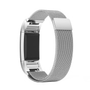 Pawaca Replacement Band for Fitbit Charge 2 , Milanese Woven Stainless Steel Metal Accessory Bracelet Strap with Magnet Lock for Fitbit Charge 2