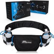 Hydration Running Belt With 2 BPA Free Bottles By Fibre Road | Elastic & Waterproof Neoprene Waist Pouch for Men, Women & Kids | Adjustable Fanny Pack For Hiking, Sports & Outdoors | Bonus Wrist Wrap