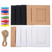 eBoot 20 Pieces Paper Photo Frames Film Decor Borders Picture Mats with 20 Pieces Wooden Clips and 2 Pieces Twines