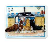 "Alisons Animals Glass Chopping Board Worktop Surface Protector, Small 22x30cm, ""Aga Saga"""