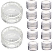 Malloom 50Pcs Clear Plastic Empty Cosmetic Sample Containers Jars Pots Small 3g
