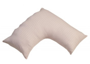 Homescapes V Shaped Pillowcase Pink 330 Thread Count 100% Egyptian Cotton Percale Satin Stripe
