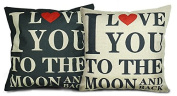 "Luxbon Set of 2 Pcs Black and Beige I Love You Cushion Cover Durable Cotton Linen Throw Pillow Case Valentine Lover Gift 18""X18"" 45x45cm- I LOVE YOU TO THE MOON AND BACK"