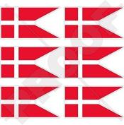 "DENMARK Danish State Flag Danmark 40mm (1,6"") Mobile, Cell Phone Vinyl Mini Stickers, Decals x6"