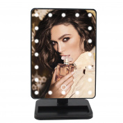Mermaid 25cm Rectangular LED Lighted Vanity Mirror-Touch Screen,Cordless, Battery Operated,Locking Suction,180 Rotation with 10x Magnification Spot Mirrors