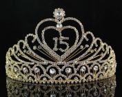 Quinceanera Sweet 15 Fifteen Birthday Rhiestone Tiara Crown W Hair Combs T1756g Gold