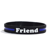 FRIEND Thin Blue Line Silicone Wristband Bracelets Police Officers Patrol Awareness Support