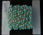 3m AAA+ + Beautiful Quality Turquoise Gold Plated Faceted Rondelle Gemstone Rosary Beads 3-4mm chain 120 inches LOVEKUSH