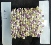 3m AAA+ + Beautiful Quality Peridot + Amethyst Silver Plated Faceted Rondelle Gemstone Rosary Beads 3-4mm chain 120 inches LOVEKUSH