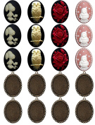 20 Jewellery Making Kit Handmade Cabochon Cameo Arts Crafts Oval Metal Blank Frame Fit 40x30mm