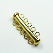 1pc Gold Vermeil on 925 Sterling Silver Jewellery findings 5-strand Slide lock Clasp