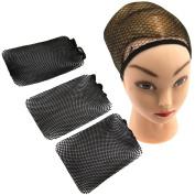 3 x Wig Cap Mesh Cosplay Weaving Breathable Stocking Hair Liner Unisex Hair Net